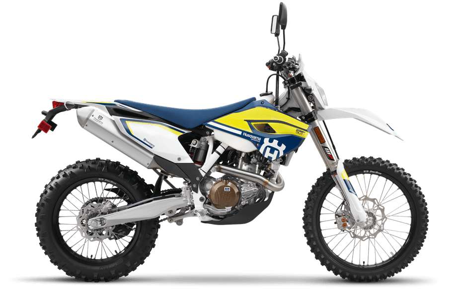 Side view of street-legal Husqvarna FE 501 enduro bike