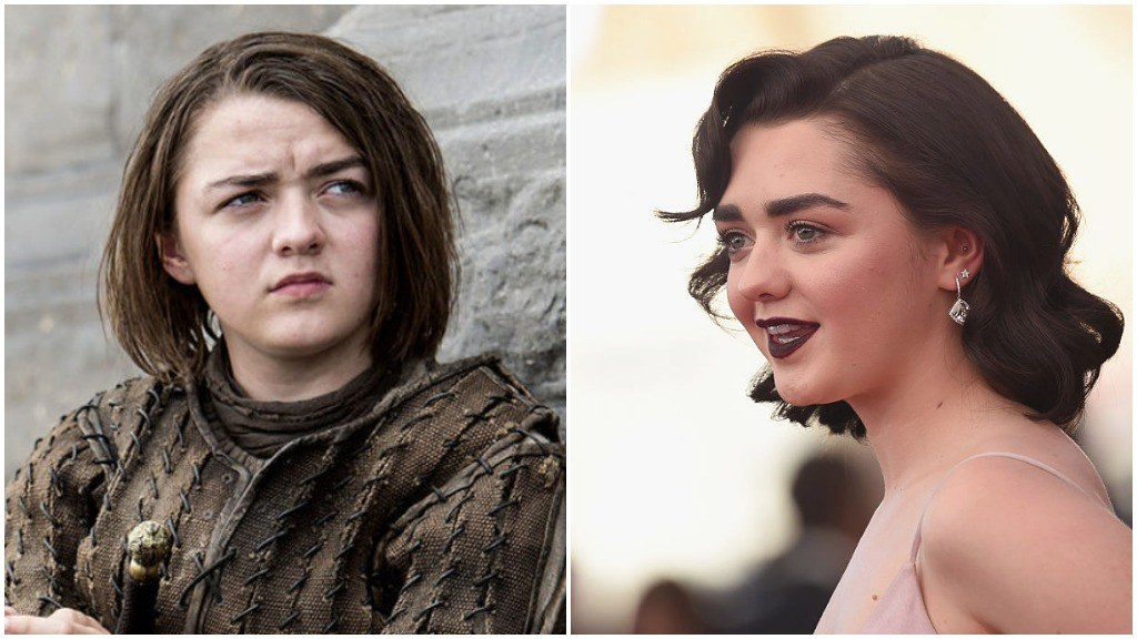 Maisie Williams side-by-side comparison, one with her on Game of Thrones, and the other with her dressed up on the red carpet