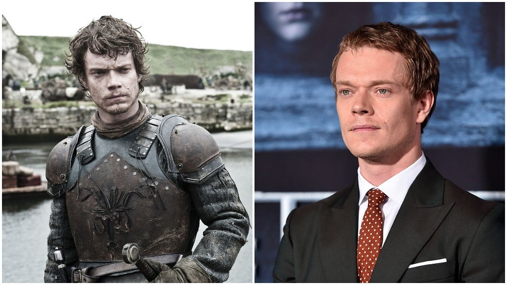 A side-by-side comparison of Alfie Allen as Theon Greyjoy, and dressed in a suit with a red tie on the red carpet