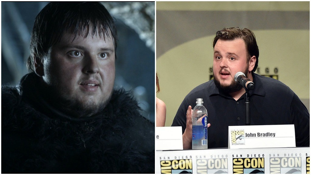 A side-by-side comparison of John Bradley as Samwell Tarly, and speaking at a Comic-Con panel