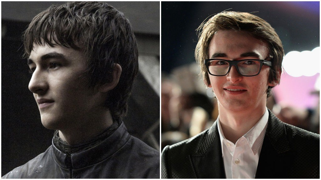 A side-by-side comparison of Isaac Hempstead Wright as Bran Stark, and wearing glasses and a suit on the red carpet