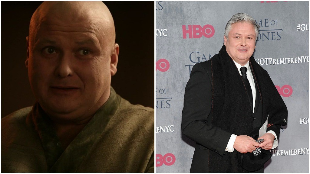A side-by-side comparison of Conleth Hill as Varys, and with a full head of a hair and a suit on the red carpet