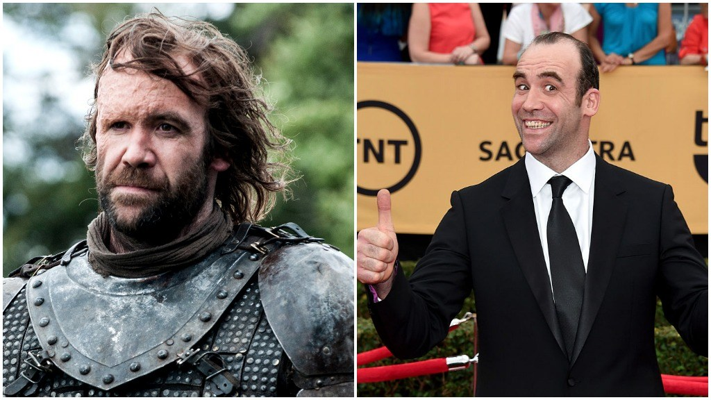 A side-by-side comparison of Rory McCann as Sandor Clegane, and giving a thumbs up on the red carpet while smiling