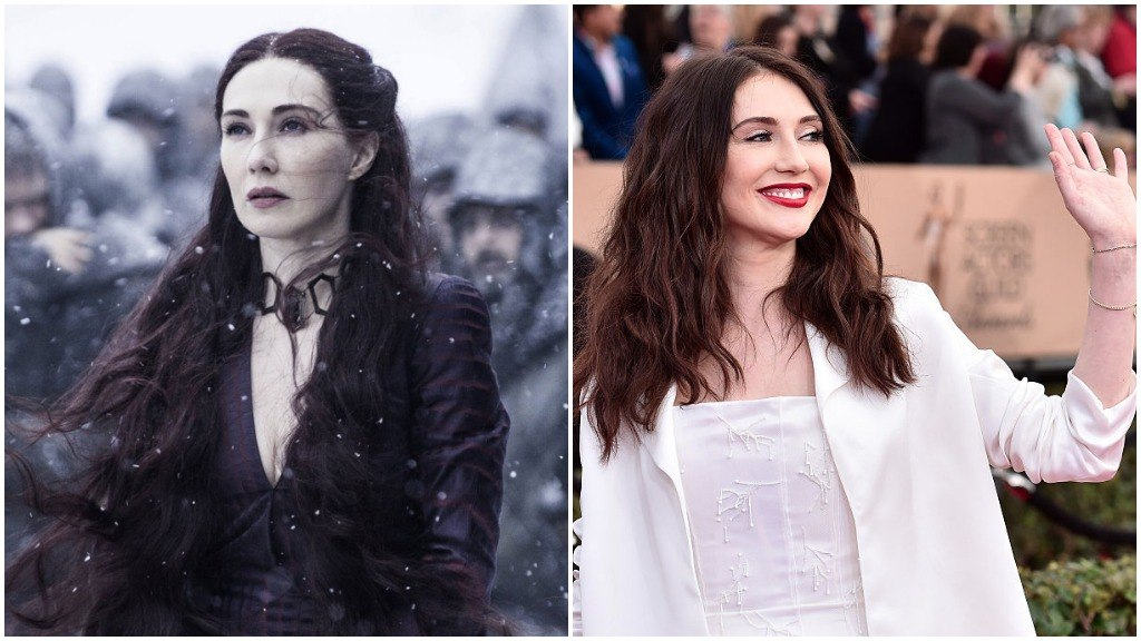 A side-by-side comparison of Carice Van Houten, as Melisandre on Game of Thrones, and wearing a white outfit and smiling on the red carpet