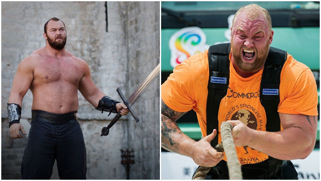 A side-by-side comparison of Hafþór Júlíus Björnsson, as the Mountain on Game of Thrones, and screaming while pulling a large rope in the World's Strongest Man Competition