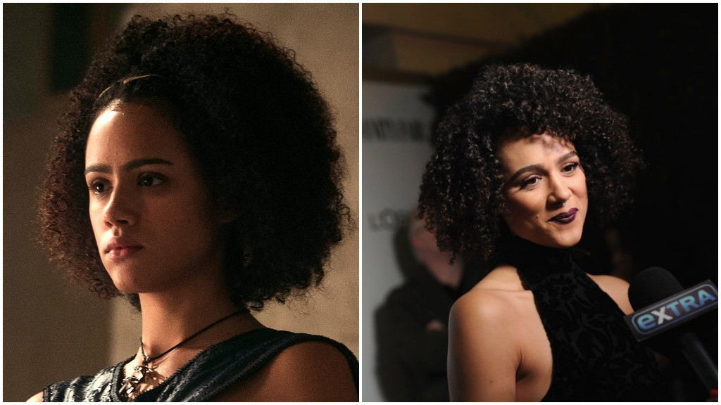 A side-by-side comparison of Nathalie Emmanuel, as Missandei on Game of Thrones, and wearing a black dress and smiling on the red carpet