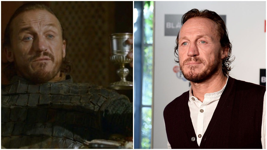 A side-by-side comparison of Jerome Flynn as Bronn in Game of Thrones, and wearing a suit on the red carpet for a screening of Black Mirror