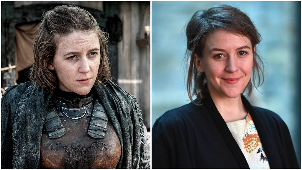 A side-by-side comparison of Gemma Whalen, as Yara Greyjoy on Game of Thrones, and wearing a black sweater over a flower pattern dress, smiling for the camera