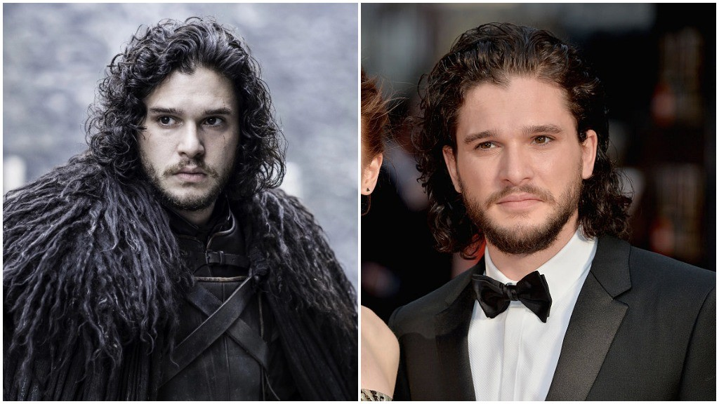 A side-by-side of Kit Harrington, first as Jon Snow, and second in a tuxedo on the red carpet