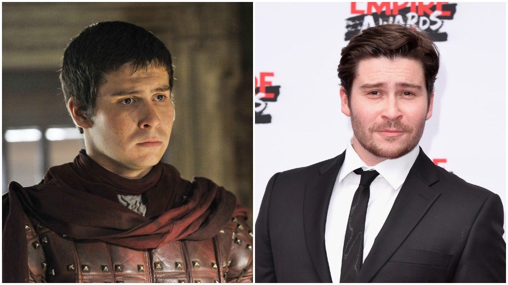 A side-by-side comparison of Daniel Portman as Podrick Payne, and wearing a suit, sporting a beard on the red carpet