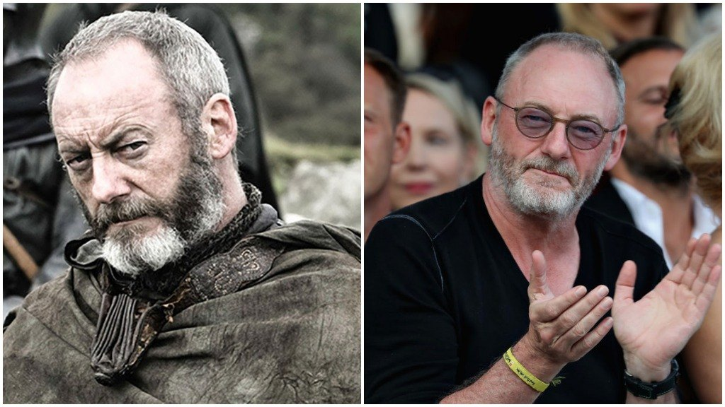 A side-by-side comparison of Liam Cunningham as Davos Seaworth, and wearing a black t-shirt while applauding at a fashion show