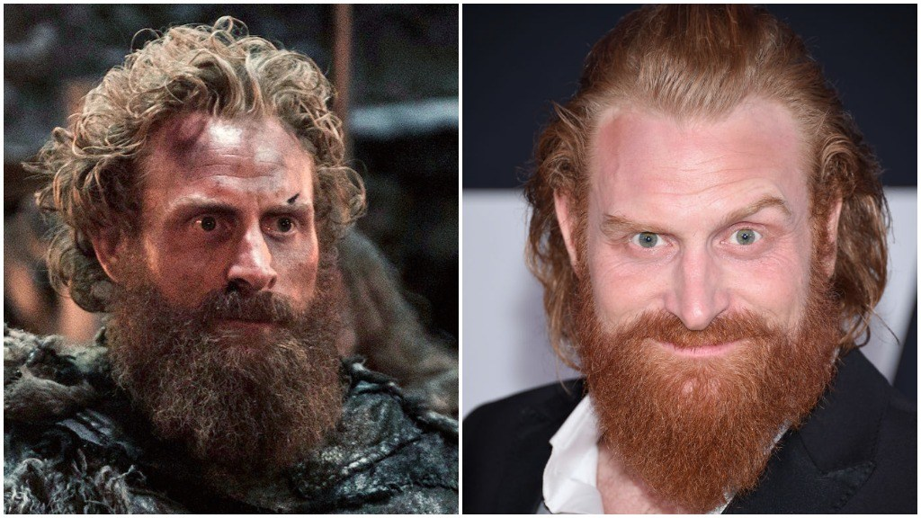 A side-by-side comparison of Kristofer Hivju as Tormund Giantsbane, and wearing a suit and smiling on the red carpet