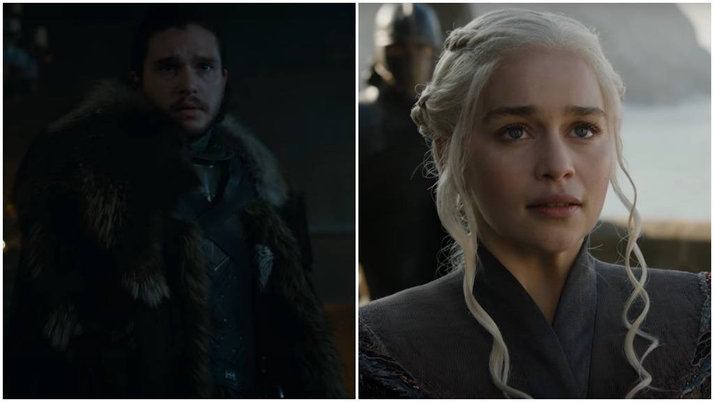 A side-by-side of Jon Snow and Daenerys Targaryen