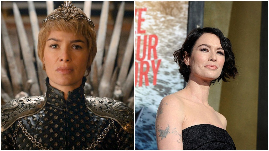 A side-by-side comparison of Lena Headey, first as Cersei Lannister, and second dressed up on the red carpet for the premiere of 300