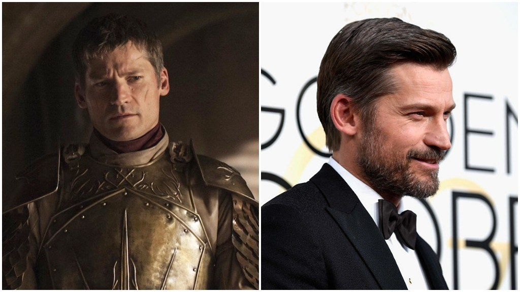 Nikolaj Coster Waldau in a side-by-side comparison, first as Jaime Lannister, and second in a tuxedo on the red carpet for the Golden Globes