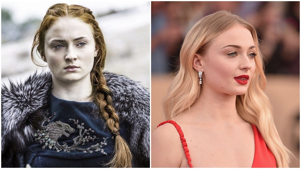 Sophie Turner in a side-by-side comparison, first as Sansa Stark, and second in a red dress at an awards show red carpet