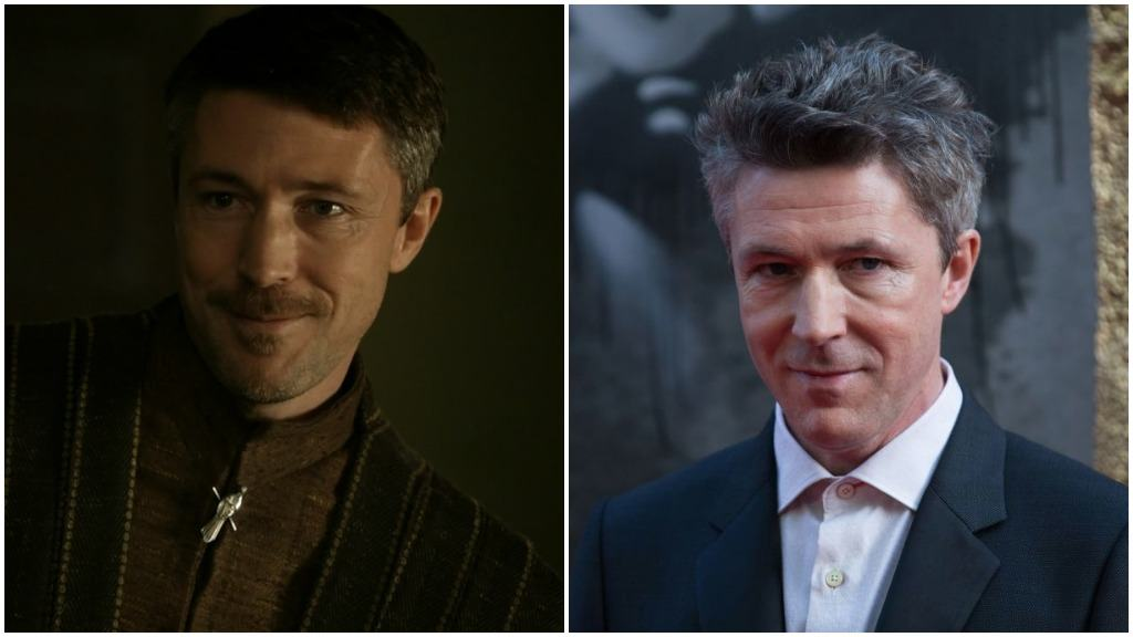 A side-by-side comparison of Aidan Gillen, first as Littlefinger on Game of Thrones, and second on the red carpet in a suit