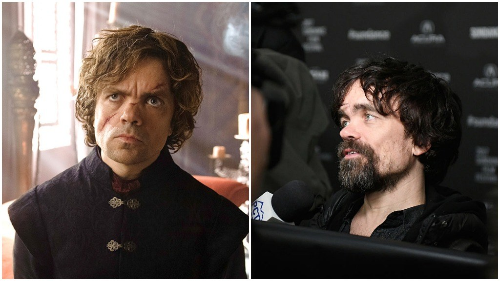 A side-by-side comparison of Peter Dinklage on Game of Thrones, and on the red carpet at Sundance Film Festival