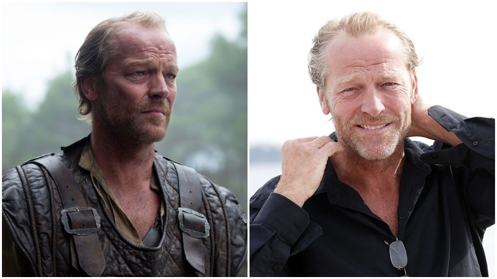 A side-by-side comparison of Iain Glen, as Jorah Mormont, and wearing a flowy black button-up shirt in a promotional image