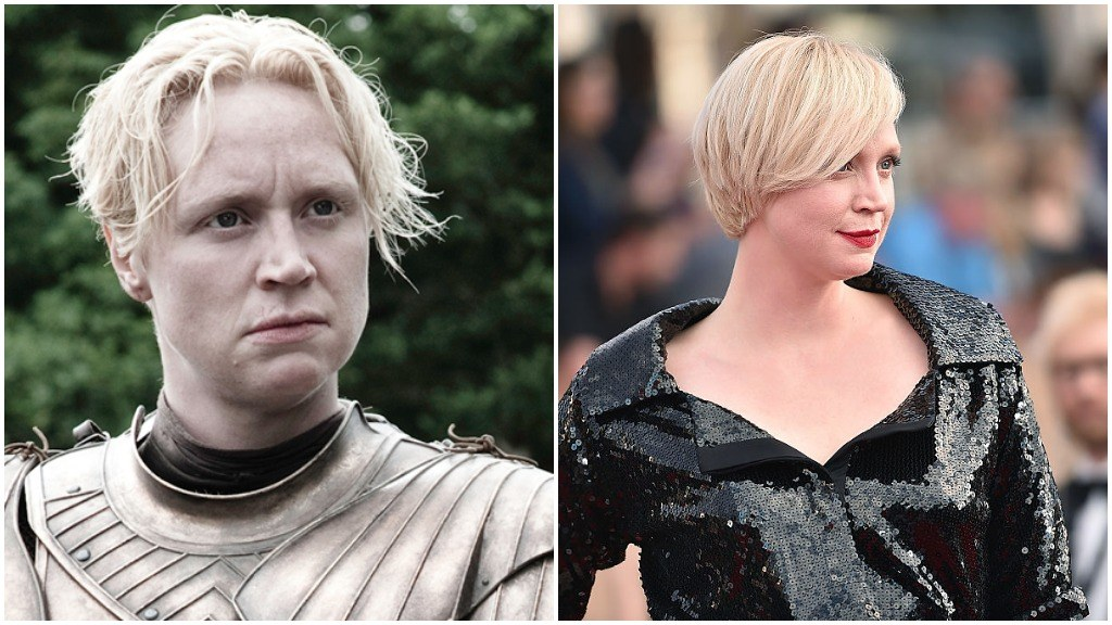 A side-by-side comparison of Gwendoline Christie as Brienne of Tarth, and in a black dress on the red carpet for the SAG Awards