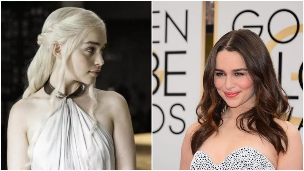Emilia Clarke side-by-side, one from her role on Game of Thrones, and the other of her dressed up on the red carpet