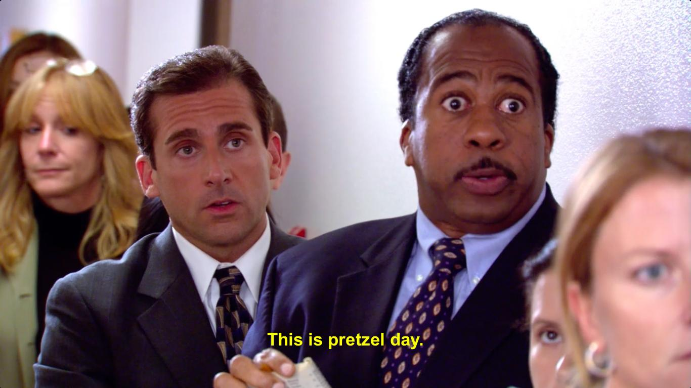 Stanley Hudson waits in line to celebrate his favorite unofficial holiday: Pretzel Day