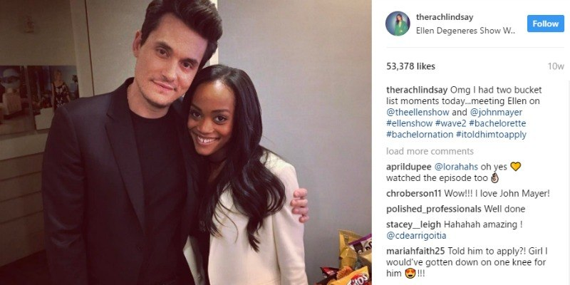 John Mayer Has An Arm Around Rachel Lindsay Backstage At The Ellen Show