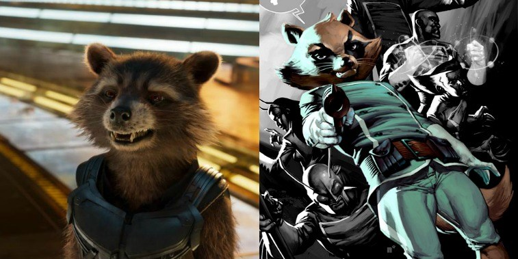 Rocket in GOTG Vol. 2 and comic image of Rocket in the comics