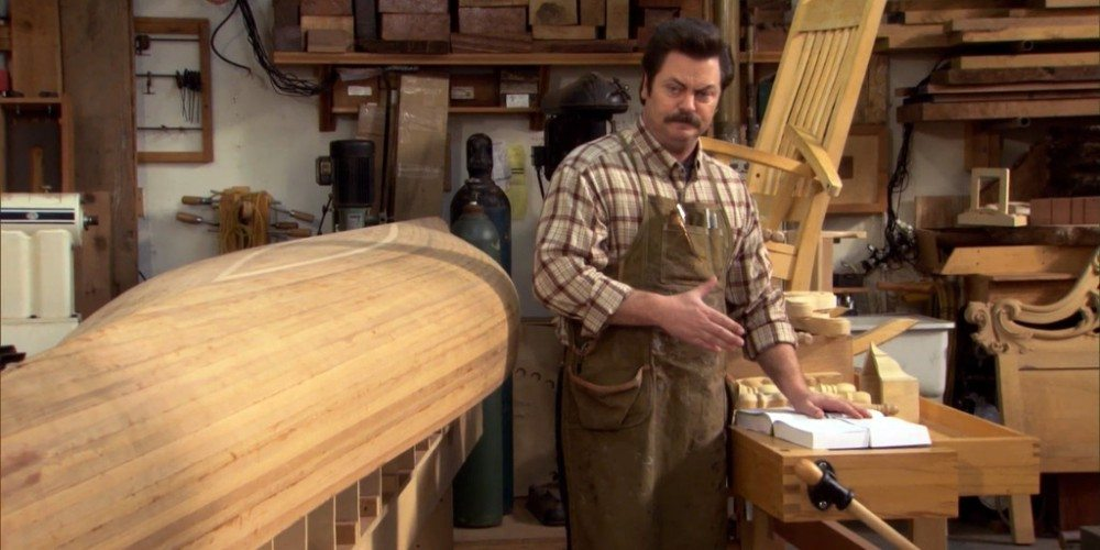 Ron Swanson in his woodworking shop