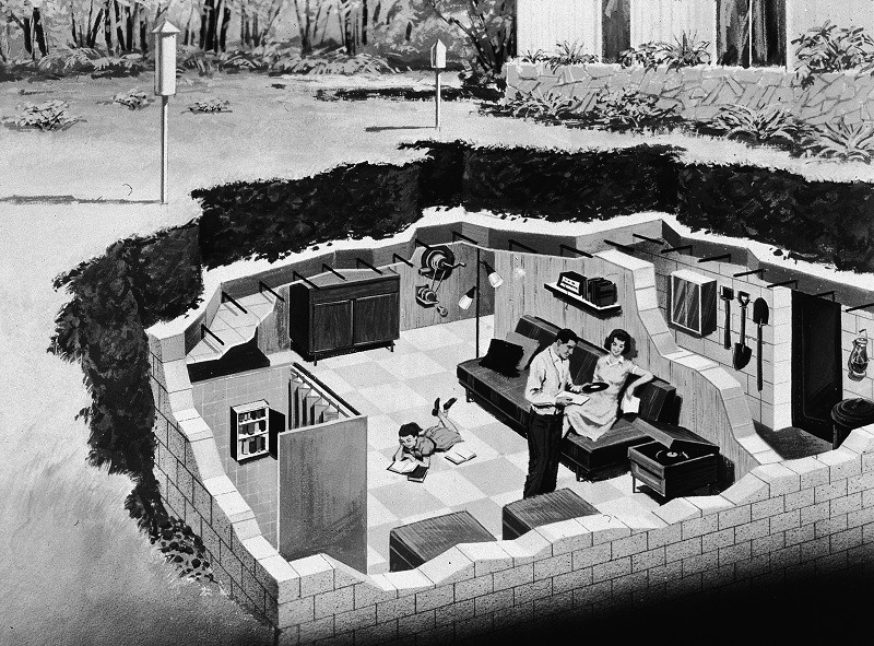 Illustration depicting a family in their back yard underground bomb shelter, early 1960s