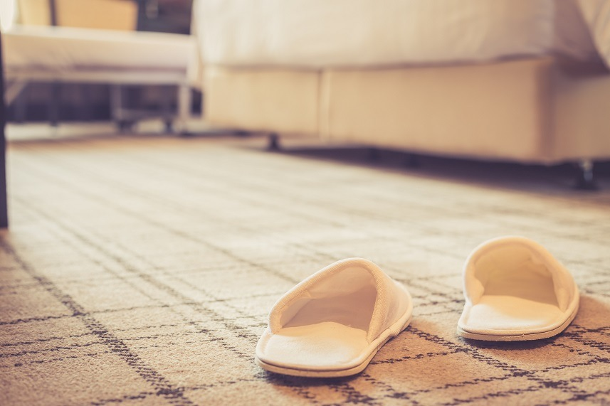 white shoe in hotel room