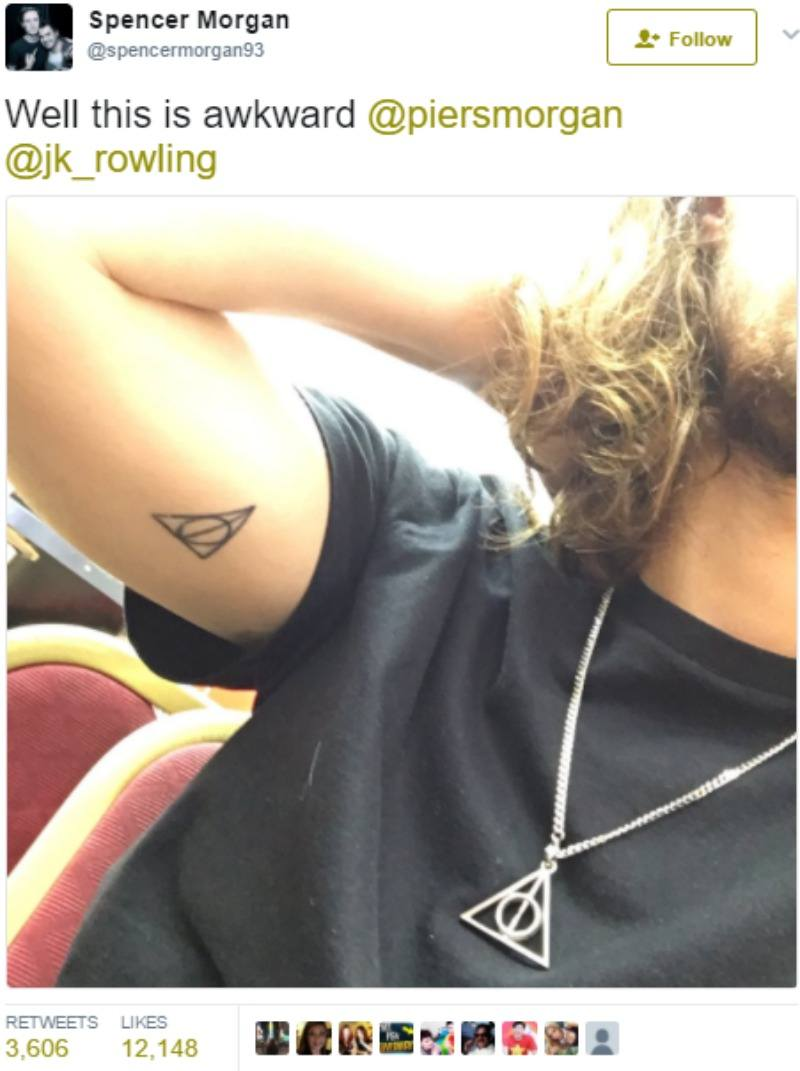 Spencer Morgan shows a tattoo on his arm referencing Harry Potter.