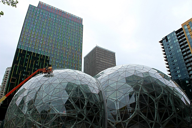 The Amazon Spheres in downtown Seattle