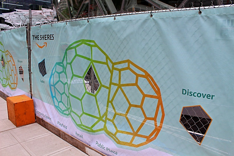 "A banner advertising ""The Spheres"""