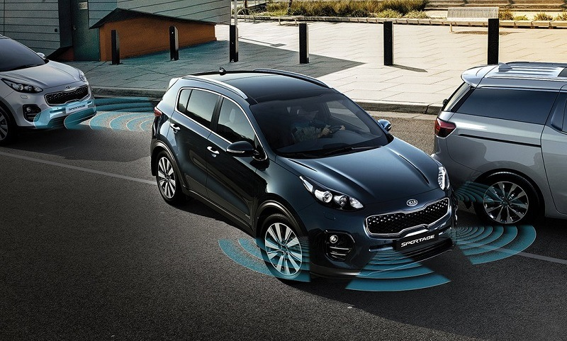 View of 2017 Kia Sportage with visualization of exterior parking assist technology