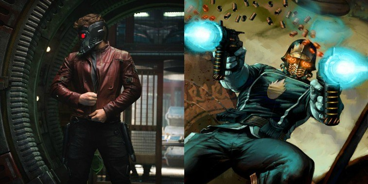 Star Lord in GOTG Vol. 2 and comic image of Star Lord in the comics