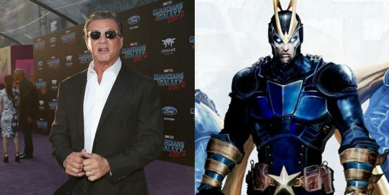 Sylvester Stallone on the red carpet for Guardians of the Galaxy Vol. 2 and an image of Starhawk from the comic