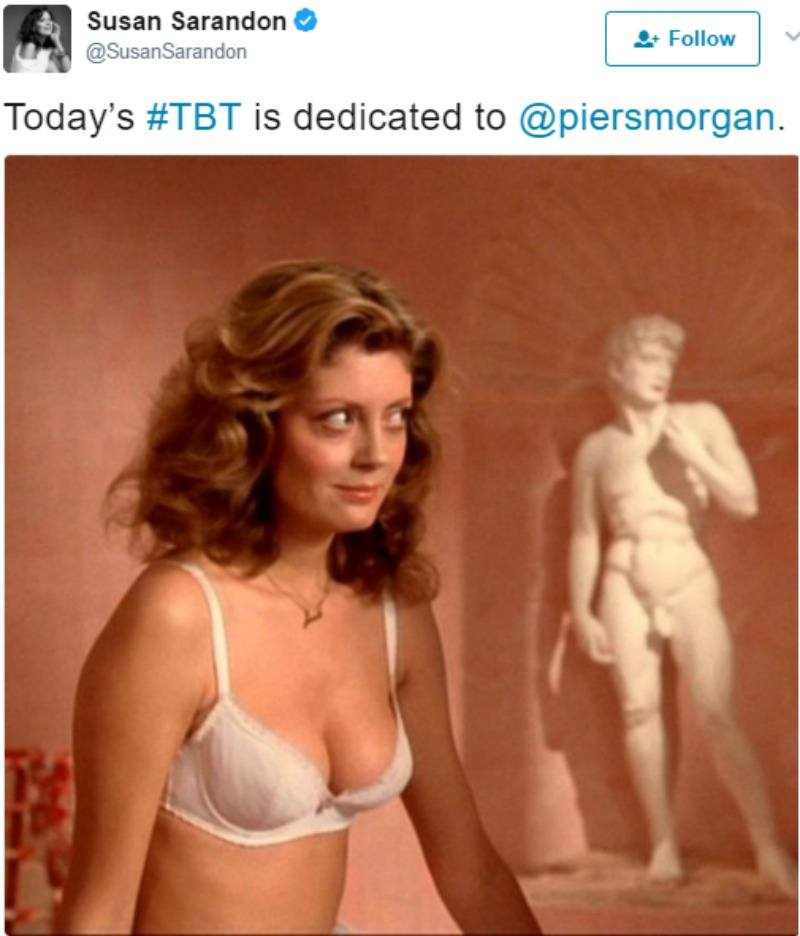 """Susan Sarandon tweets """"Today's #TBT is dedicated to @piersmorgan"""" with a picture of her just in a bra from Rocky Horror Picture Show."""