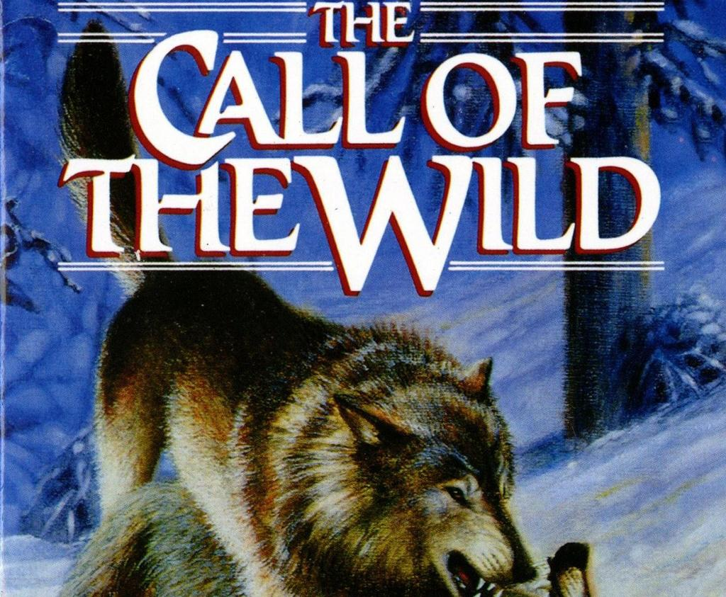 Cover art for The Call of the Wild, featuring a wolf in a snowy forest