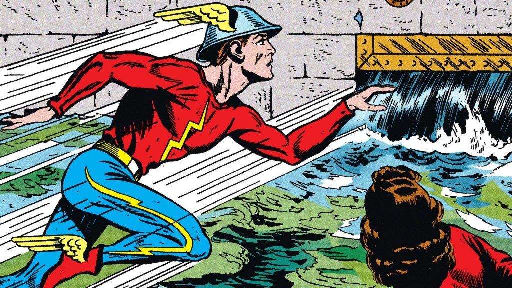 Comic book cartoon image of The Flash in costume running