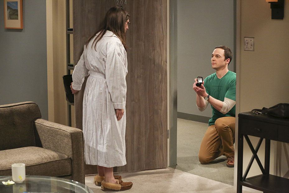 Sheldon Cooper gets on his knee and proposes to Amy Farrah Fowler in the Season 10 finale of The Big Bang Theory