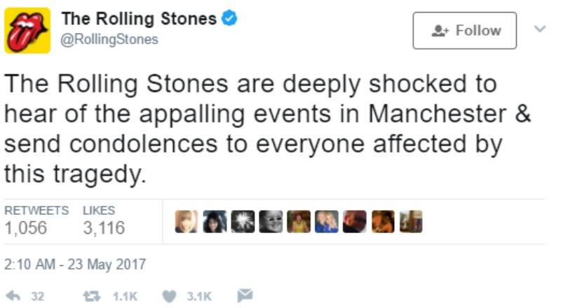"""This is a screen shot of The Rolling Stones tweeting """"The Rolling Stones are deeply shocked to hear of the appalling events in Manchester & send condolences to everyone affected by this tragedy."""""""