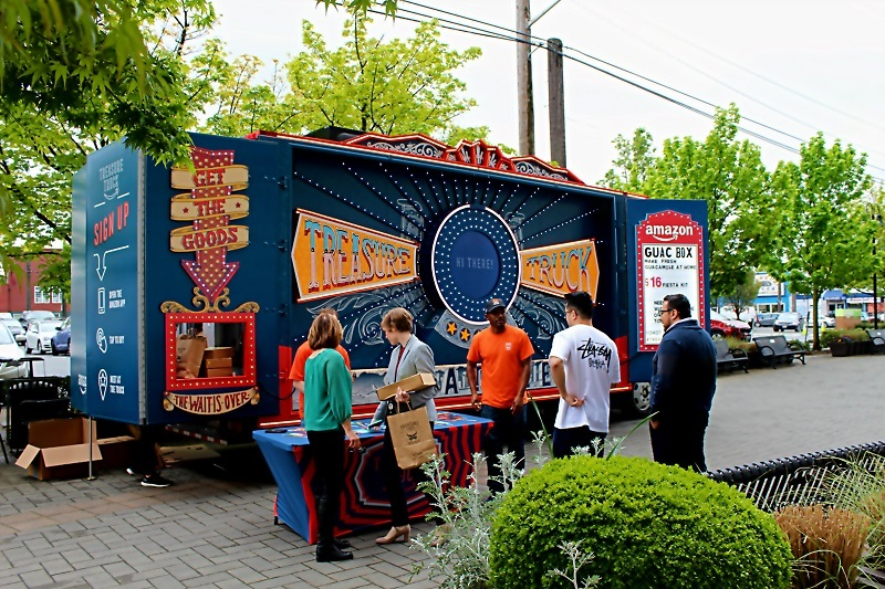 Customers picking up their orders from the Treasure Truck