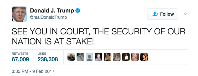 One of Trump's tweets about the travel ban