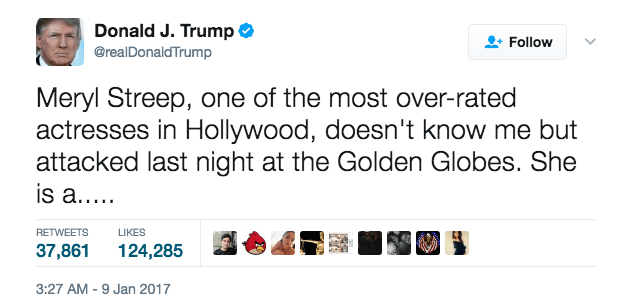 One of Trump's tweets about Meryl Streep