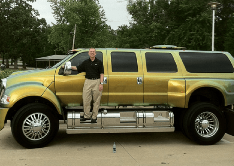 Joe Johnson's extended Ford F650 truck in gold