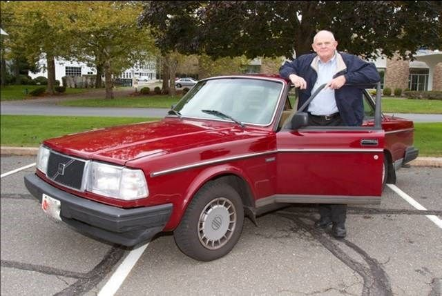 Image of Selden Cooper and his 1987 Volvo 240 that traveled over 1 million miles as of 2012
