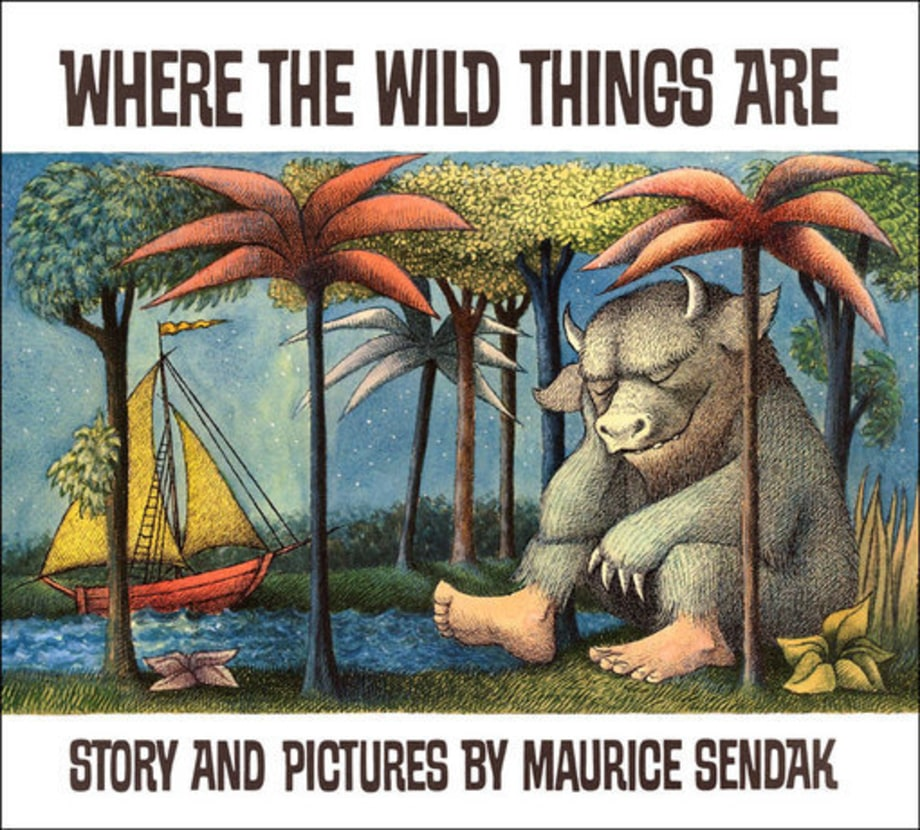 The cover of Where the Wild Things Are, with a sleeping monster sitting under a grove of palm trees