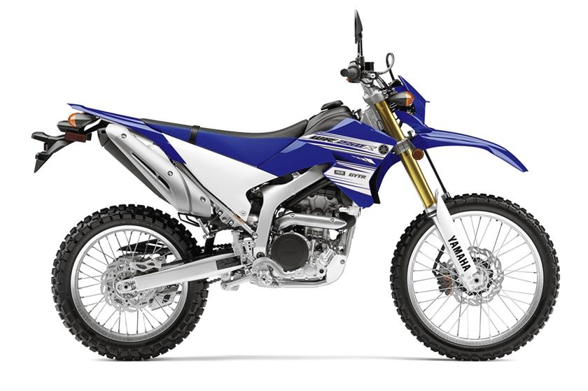 Yamaha's WR250R dirt bike in blue and white seen in profile