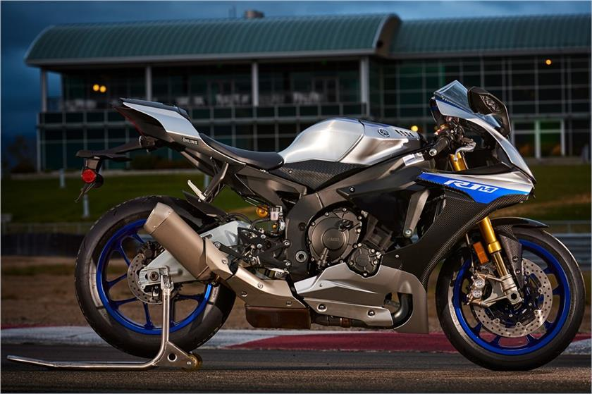 View of Yamaha YZF R1M on a racetrack